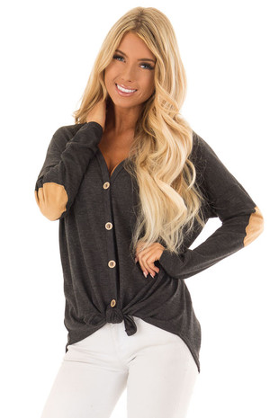 Heathered Charcoal Button up Top with Camel Elbow Patches front close up