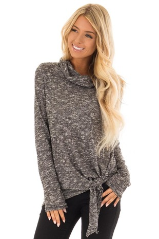 Charcoal Rib Knit Long Sleeve Top with Cowl Neck front close up
