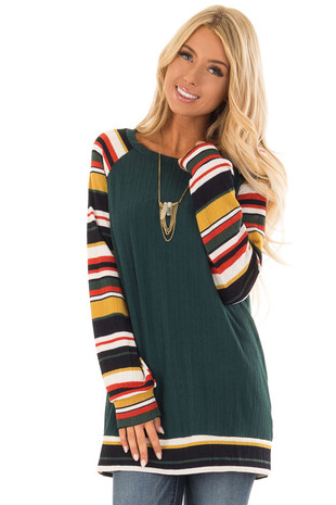 Forest Green Top with Multi Color Raglan Sleeves front close up