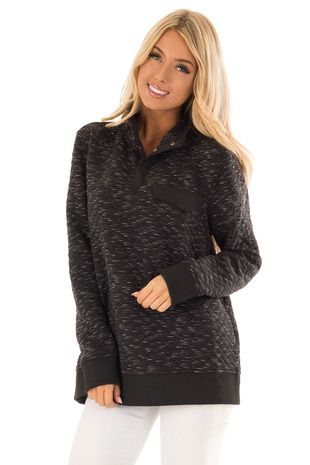 Black Quilted Pullover Long Sleeve Sweater with High Collar front close up