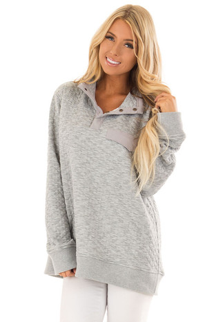 Stormy Grey Quilted Pullover Long Sleeve Sweater front close up