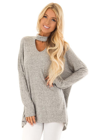 Heather Grey Two Tone Top with Dropped Shoulders and Choker front close up