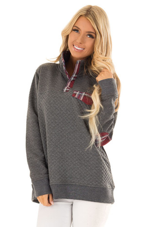 Charcoal Quilted Pullover Sweater with Elbow Patches front close up