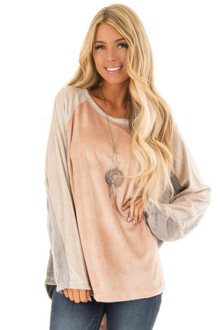 Blush Color Block Faux Fur Long Sleeve Top front close up