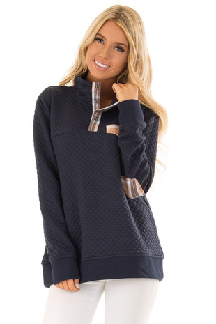 Navy Quilted Pullover Sweater with Elbow Patches front close up