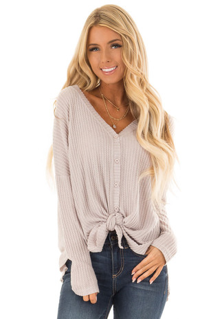 Dusty Rose Oversized Waffle Knit Button Up Top front close up