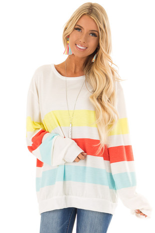 White Oversized Striped Long Sleeve Top front close up