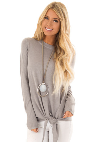 Heather Grey Long Sleeve Top with Front Tie Detail front close up