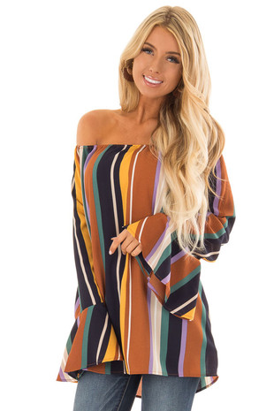 Multicolor Striped Off the Shoulder Top with Bell Sleeves front close up