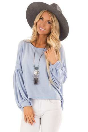 Dusty Blue Soft Knit Top with Long Bubble Sleeves front close up
