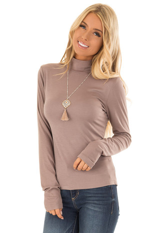 Mocha Soft Knit Long Sleeve Turtleneck Top front close up