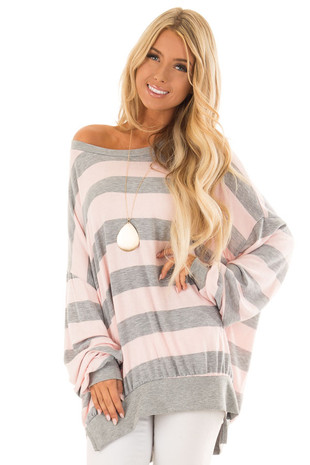 Heather Grey and Blush Striped Long Sleeve Top front close up