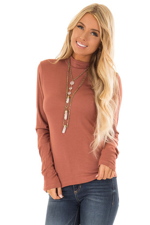 Rust Soft Knit Long Sleeve Turtleneck Top front close up