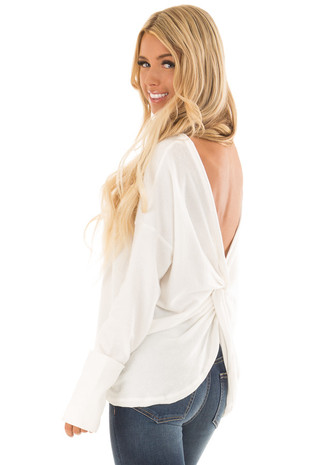 Off White Long Sleeve Top with Back Twist Detail back side close up