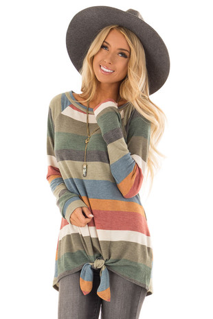 Olive and Apricot Striped Long Sleeve Top with Front Tie front close up
