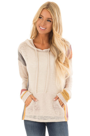 Oatmeal Long Sleeve Crochet Hoodie with Colorful Contrast front close up