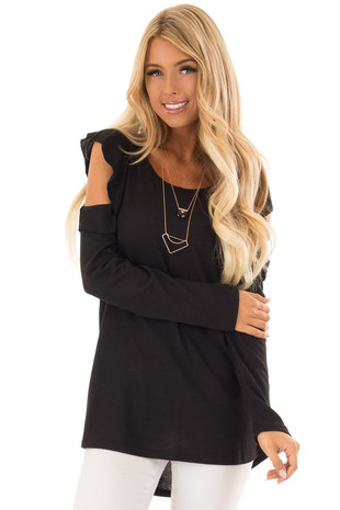 Raven Black Cold Shoulder Long Sleeve Top with Ruffle Detail front close up