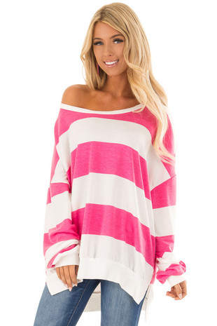 Bubble Gum Pink and Off White Striped Oversize Sweatshirt front close up