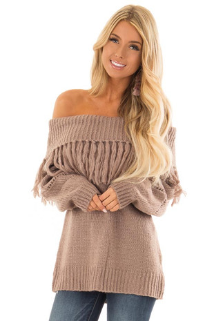 Cocoa Off the Shoulder Long Sleeve Knit Top with Fringe front close up