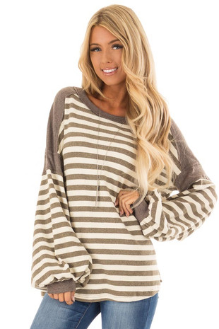 Mushroom Striped Long Bubble Sleeve Top front close up