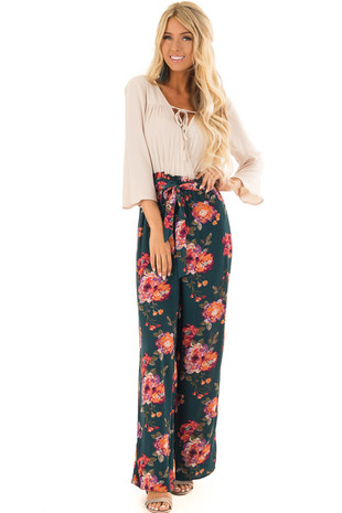 Hunter Green V Neck Floral Print Jumpsuit with Waist Tie front full body