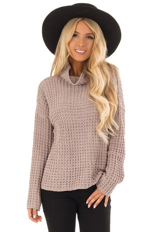 Cocoa Long Sleeve Knit Sweater with Funnel Neck front close up