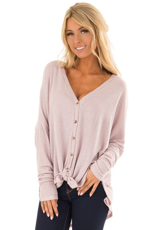 Light Lavender Button Up Twist Top with Long Sleeves front close up