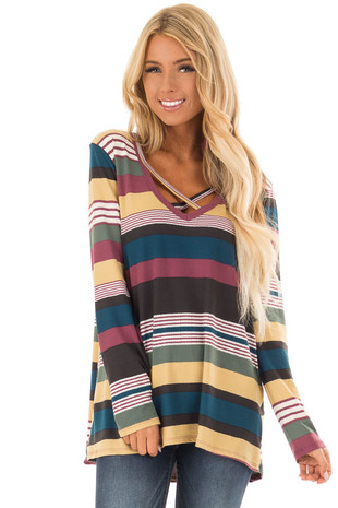 Mustard Multi Striped Criss Cross V Neckline Top front close up