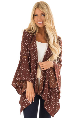 Chocolate Polka Dot Cardigan with Flare Sleeves front close up