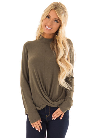 Army Green Long Sleeve Top with Mock Neck and Front Twist front close up
