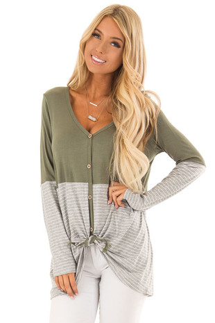 Forest Green Long Sleeve Button up Top with Stripe Contrast front close up