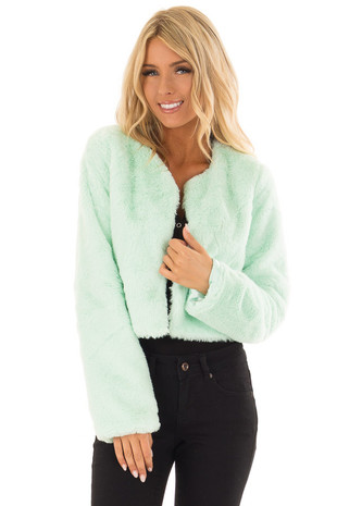 Mint Long Sleeve Faux Fur Jacket front close up