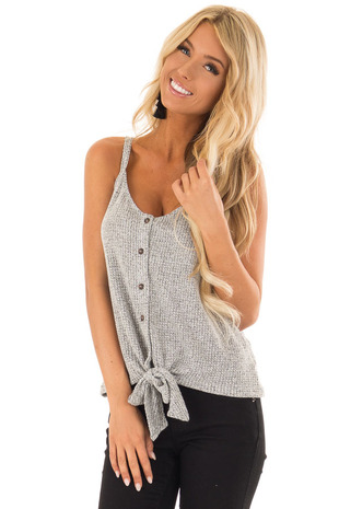 Heather Grey Button up Knit Tank with Front Tie front close up