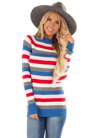 Red Multi Color Ribbed Stripe Sweater with High Neckline front close up
