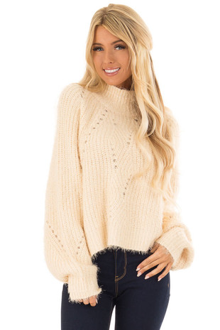 Cream Oversized Fuzzy Knit Sweater with Mock Neckline front close up