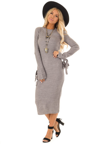 Cloud Grey Ribbed Knit Midi Dress with Tie Detail on Cuffs front close up