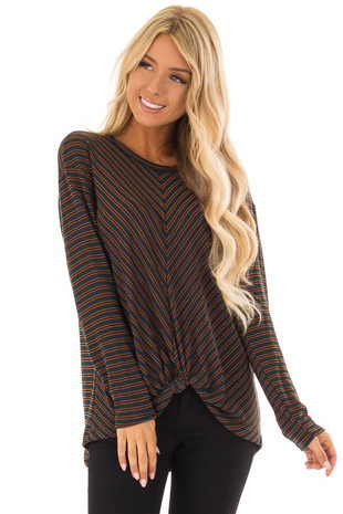 Dark Teal Striped Long Sleeve Top with Front Twist Detail front close up