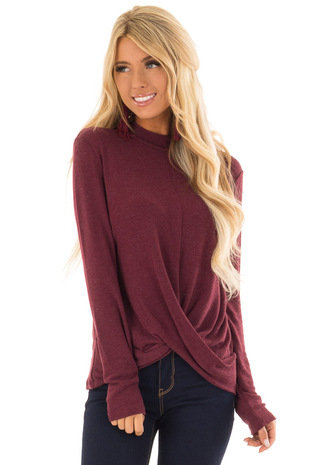 Maroon Long Sleeve Top with Mock Neck and Front Twist front close up