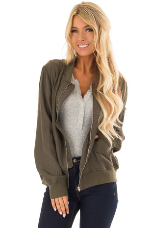 Army Green Lightweight Bomber Jacket with Front Pockets front close up