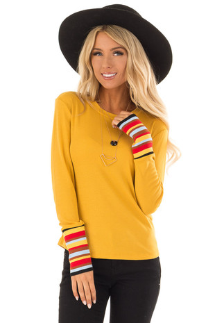 Marigold Long Sleeve Knit Top with Multi Color Striped Cuffs front close up