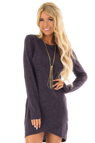 Navy Two Tone Long Sleeve Dress with Tulip Hem front close up
