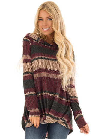 Burgundy and Juniper Chevron Stripe Hoodie with Twist Hem front close up