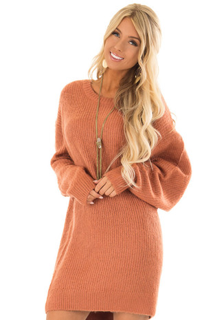 Burnt Sienna Long Sleeve Fuzzy Knit Sweater Dress front close up