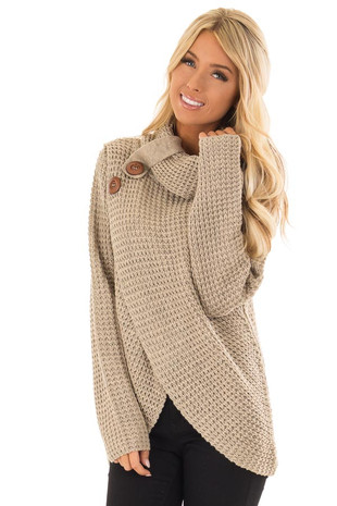 Taupe Cowl Neck Knit Sweater with Button Detail front close up