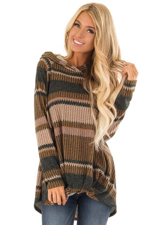 Honey and Juniper Chevron Stripe Hoodie with Twist Hem front close up