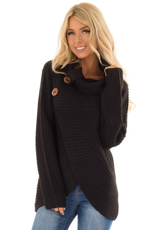 Black Cowl Neck Knit Sweater with Button Detail front close up