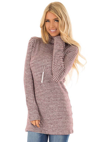 Wine and Light Grey Striped High Neck Top with Long Sleeves front close up