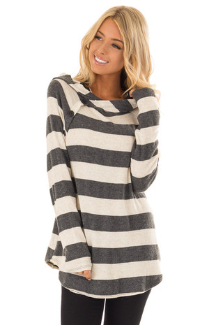 Charcoal Striped Hooded Long Sleeve Top with Button Tabs front close up