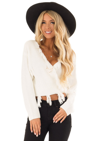Cream Fringe Knit Sweater with Long Sleeves and Tie front close up