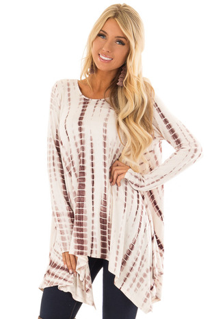 Cream and Chocolate Long Sleeve Tunic with Asymmetrical Hem front close up